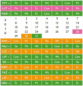 The Small Calendar Gadżet Okno Główne